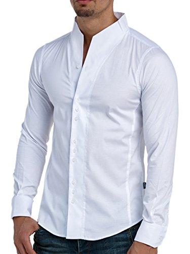 L.A.B 1928 Herren Hemd Langarm Slim Fit Shirt Casual Stehkragen Stehkragenhemd