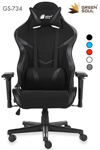 Green Soul Fabric and PU Leather Monster Series Gaming/Ergonomic Healthy Chair (Full Black, Large)