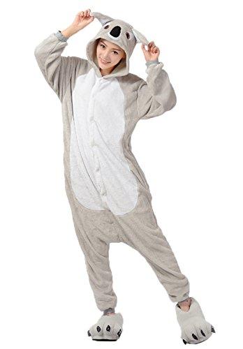 Haroty-Unisex-Adulto-koala-Camicie-da-Notte-con-cappuccio-Pigiama-Cosplay-Halloween-Costume-Animale-flanella-Pajamas-Tuta