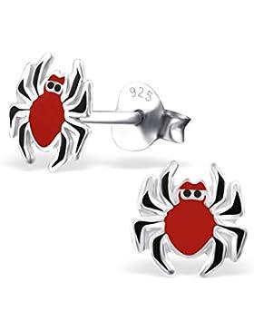 Kinder Silber Spinne Bunter Ohrstecker mit Epoxy