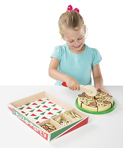 Image of Melissa & Doug Pizza Party Wooden Play Food Set With 54 Toppings