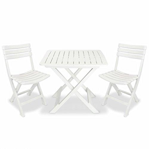 Festnight Bistroset Balkonset Balkonmöbel aus Kunststoff Weiß