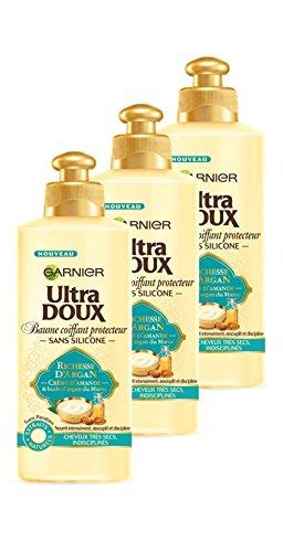 Garnier Ultra Doux Baume Coiffant Protecteur Richesse d'Argan 600 ml - Lot de 3