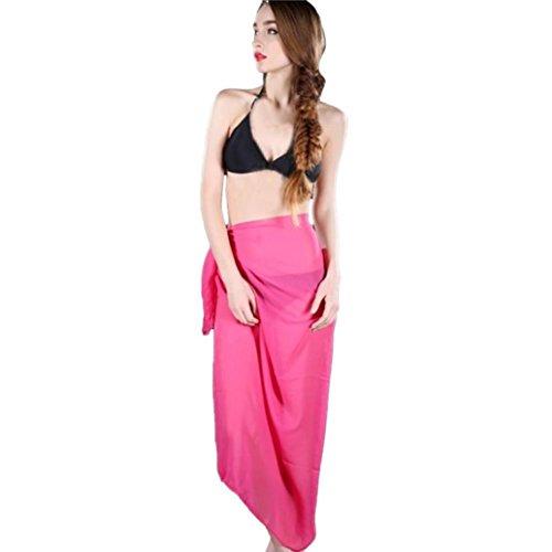 Damen Röcke, GJKK Damen Reizvoller Strandrock Vertuschen Chiffon Rock Bikini Bademode Vertuschen Wrap Rock Badeanzug Lange Rock (Hot Pink, F) (Bademode Hot Pink)