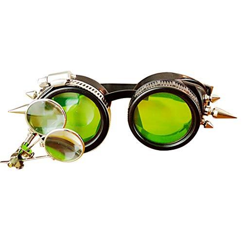 MAGAI Spiked Cyber   Steampunk viktorianischen Stil Brille mit Kompass-Design, farbige Linsen & Ocular Loupe (Farbe : Green)