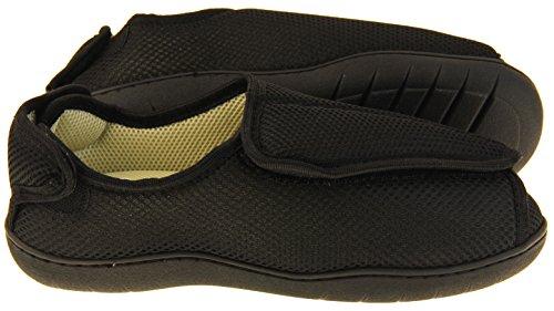 Footwear Studio Herren Einstellbare Klettverschluss Orthopädische Pantoffeln Schwarz Masche (Geschlossene Zehenhefterzufuhren)