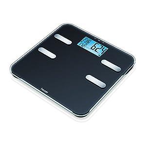 Beurer BF 185 Diagnosewaage, Körperfettwaage mit extra großer LCD-Anzeige, Messung von Körperfett, Muskelanteil, Knochenmasse, Kalorienbedarf, schwarz