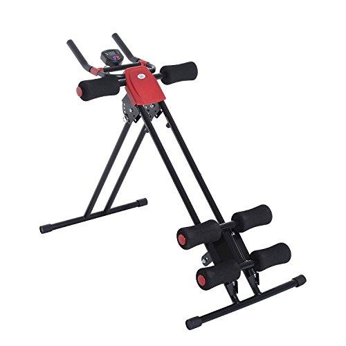 Homcom Appareil de Fitness et Musculation pour abdominaux Écran Multi-Fonction intégré Pliable Noir Rouge Neuf 03