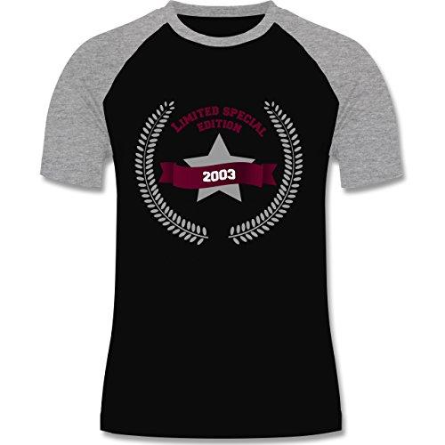 Geburtstag - 2003 Limited Special Edition - zweifarbiges Baseballshirt für Männer Schwarz/Grau Meliert