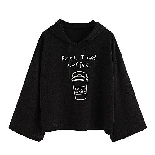 Letter DAbord Jai Besoin de Café, Sweat-Shirt Pull Crop Top Broderie Pulls Manches Longues Crop Top Coat Sport Pullovers Tops Noir
