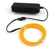 LED flexible EL Alambre Luz de neón Fiesta de baile Decoración para el automóvil + Controlador de la caja de la batería Instalación fácil Estilo del automóvil - Amarillo 1M