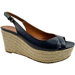 Via Spiga Luciana Damen Blau Leder Keil Sandalen Schuhe Neu EU 36