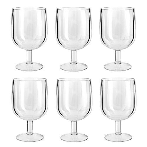 Bid Buy Direct® Premium Qualität Kunststoff Geschirr/Kochgeschirr | nahezu unzerbrechlich | wiederverwendbare Top Qualität–Weingläser, Glas, großes Glas, Salatschalen, Servierschalen und Rührschüsseln | Bruchsicher | Transparent, elegant, sicher–BPA-frei., plastik, 6Pc Wine Glasses 200ml (Chopper Top)