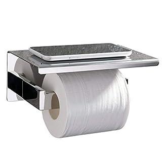 ubeegol Toilettenpapierhalter Edelstahl mit Ablage Bohren Wandhalter Chrom Klorollenhalter Klopapierhalter 2 in 1 WC Rollenhalter Toilettenrollenhalter Regal Klopapierrollenhalter, Glänzend