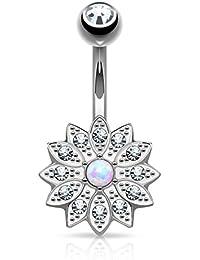 Kultpiercing–Piercing nombril Barbell Piercing Nombril Fleur de cristal clair opale (Rose Or ou Argent)