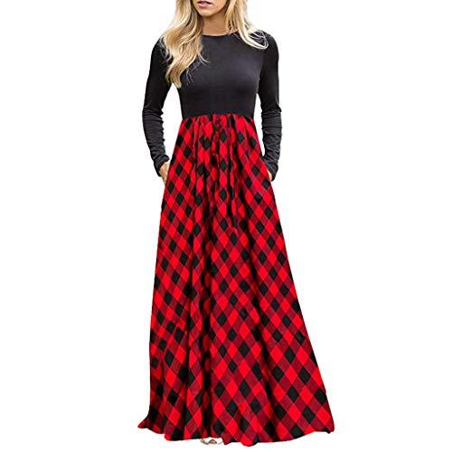 BOLANQ Frauen Plaid Langarm Empire Taille Ganzkörperansicht Maxi-Kleid mit Taschen