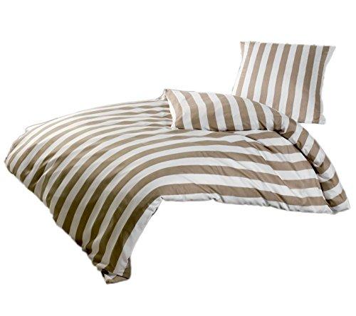 Brandsseller Baumwolle-Polyester Bettwäsche Garnitur - Gestreift - für Kopfkissen und Bettdecke mit Reißverschluss - Taupe