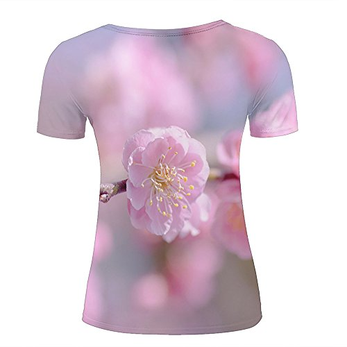 Mens 3D Printed T-Shirts Pink Cherry Flower Close Up Graphics Couple Tees C