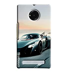 Omnam Sports Car Moving Fast Printed Designer Back Cover Case For Micromax Yuphoria