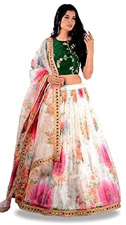 Panchhi Women's Orgenza Printed Semi-Stitched Lehenga Choli (R-1;Cream;Free Size)