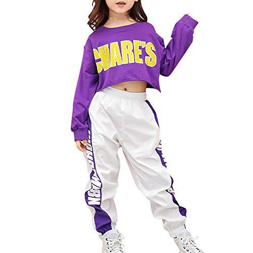 Huatime Tanzsport Mädchen Kleider - Kinder Erwachsene Tanzen Jazz Hip Hop Modern Bühne Anzüge Sets Kostüme Performance Tanzbekleidung Crop Tops + (Tanzen Kostüm Hip Hop)