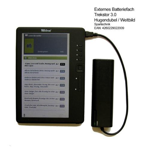 Batteriefach für Trekstor 3.0. Trekstor 4 Ink 4ink 4.0 Liro Ink Pyrus - Externes Batterieladegerät für mehr Mobilität mit dem Trekstor E-Book Reader 3.0 von Hugendubel Weltbild Jonkers TrekStor Liro Color Pyrus schwarz