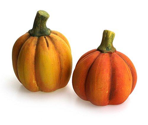 TEMPELWELT 2X Deko Figur Kürbis im Set je 8 x 8 x 11 cm, Keramik orange gelb grün, Dekofigur Dekokürbis Herbst Herbstdeko Halloween