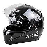Casco Unisex de Motocicleta para Adultos, Doble Lente, Cara Completa, Invierno cálido, Casco de Moto XL