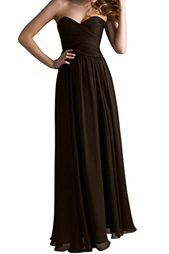 Gorgeous Bride Modisch Herzform Chiffon Lang A-Linie Abendkleid Festkleid Abendmode Schokolade