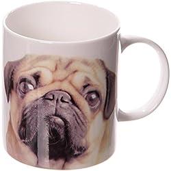 Taza, diseño de perro carlinoPorcelana Blanco/Beige/Negro