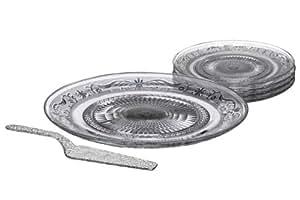 Premier Housewares 1402625 Présentoir à Gâteau avec 4 Assiettes et Pelle à Tarte en Verre Transparent