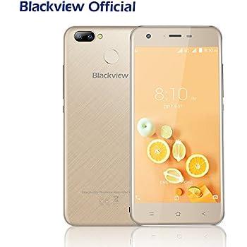 Blackview Smartphone 4G pas cher, A7 Pro Empreintes Digitales Telephone Portable Android 7.0 Dual Caméra 8MP+0.3MP Arrière-5.0 Pouces HD Ecran-2GO RAM+16GO ROM-2800mAh-Or