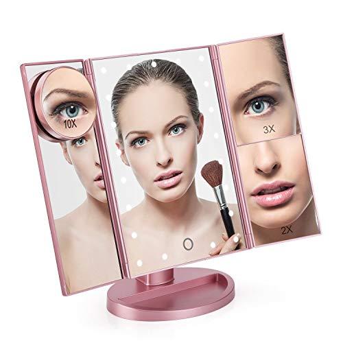 Espejo Maquillaje con Luz, Regalos Originales Para Mujer/Madre, Goline Espejo Aumento, Espejos Maquillaje, Espejo con Luz Para Maquillaje, Espejo Cosmetico Led, Espejo de Baño, Espejo de Pie/Camerino.