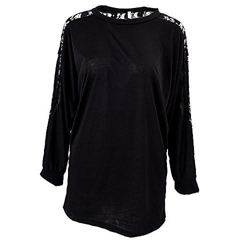 Fenhe-Batwing Dolman élégante loose blouse chemise à manches longues dentelle de Lady T-Shirt Hauts (noir)