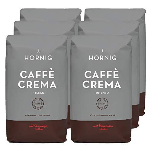 J. Hornig Kaffeebohnen Espresso, Caffè Crema Intenso, 6x1kg Vorratspackung, kräftig-schokoladiges Aroma und dunkle Röstung, für Vollautomaten, Siebträgermaschine oder Espressokocher, ganze Bohnen