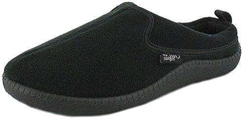 Mens Fleece Mule Slippers. - Black - UK SIZE 10