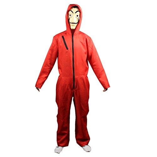 Nanka Costume Herren Salvador Dali Geld Heist Das Papierhaus La Casa De Papel Kostüm Hoodie Overall mit Maske Large rot (Für Rote Männer Maskerade-masken)