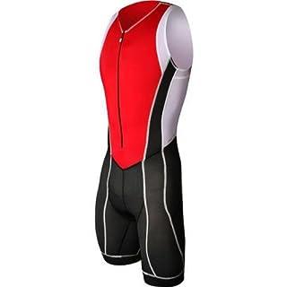 Astek Herren Weiß Schwarz Rot Premium Triathlon Singlet Haut Tri Anzug Ubaidam Kleidung, Herren, Schwarz/Rot/Weiß, X-Large