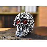 KOBWA Skull Dekoration, LED Schädel Licht verlorene Seelen Skeleton Skull Statue Figurine Bar Decor mit LED Blinkende Augen Halloween für Halloween Party Dekorationen, Sammlerstück, Neuheit Geschenke