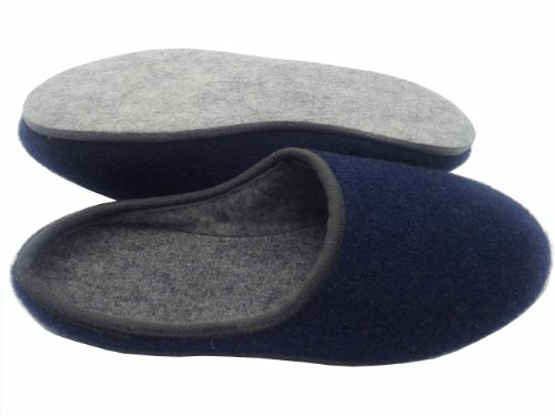 Bild von GIBRA® Deutsche Filzpantoffeln mit Filzsohle, blau, Gr. 35-48