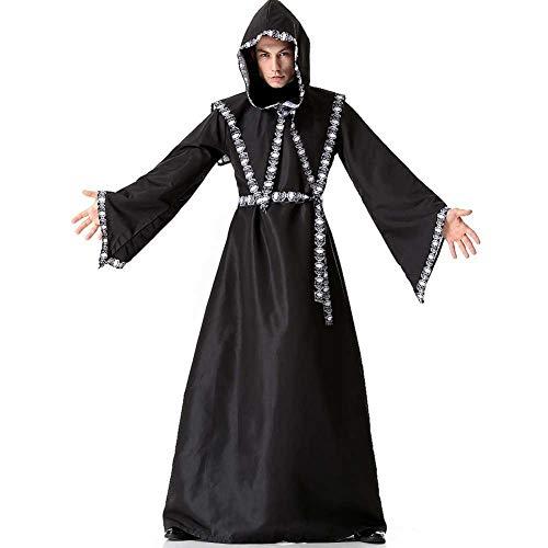 GLXQIJ Männer Kostüm Halloween Mittelalter Mit Kapuze Robe Cape Mantel Kostümfest Cosplay Outfit, Skeleton - Robe Sexy Kapuzen Kostüm