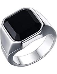 MISAM Big Black Square Stone Signet Ring Stainless Steel