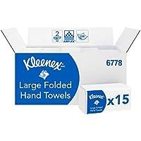 Kleenex 6778 Essuie-mains pliés Larges, 15 paquets de 124 feuilles en papier, 2 plis, Technologie absorbante Airflex , Couleur : Blanc, 06778100