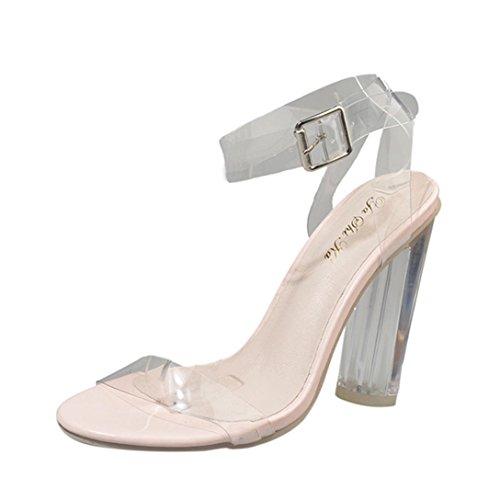 Liuchehd sandali donna con tacco alto parola con scarpe sandalo tacco trasparente zeppe (chiaro, 38)