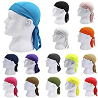 Benshyky Solid Color Breathable Motorcycle Wrap Biker Hat Unisex Headscarf Bandana Cap - Grey