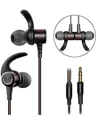 Auriculares con cable 3.5mm, SoundPEATS B50 Cascos Magneticos y muy comodos, Calidad de Sonido Alta, Compatible con Movil, iPad , iPod(Negro)