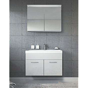 badezimmerschrank paso 02 80 cm waschbecken wei hochglanz spiegel aufbewahrung unterschrank. Black Bedroom Furniture Sets. Home Design Ideas