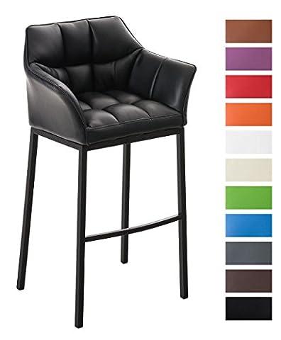 CLP Tabouret de bar DAMASO B avec 4 pieds en acier noir, revêtement en simili-cuir, repose-pieds et accoudoirs confortables noir