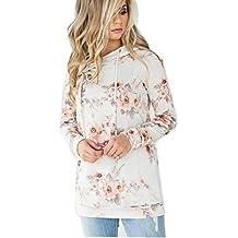 ASSKDAN Damen Blumen Kapuzenpullover Sport Hoodie Sweatshirts Oversize Oberteil Pullover