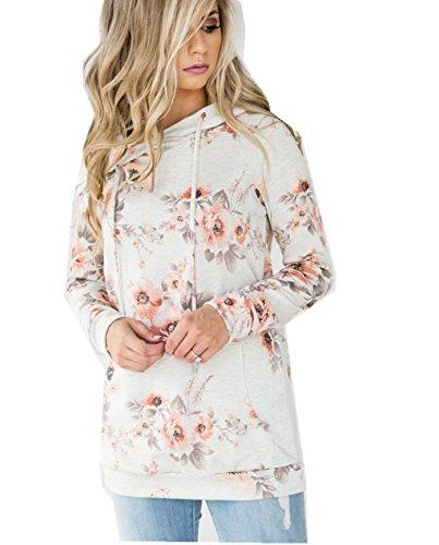 ASSKDAN Damen Blumen Kapuzenpullover Sport Hoodie Sweatshirts Oversize Oberteil Pullover, Weiß, Gr. 44 (XXL)